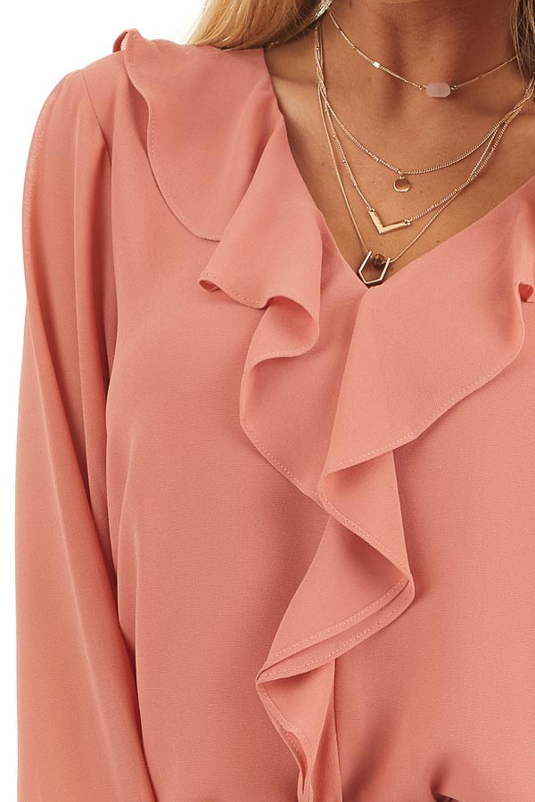 Terracotta Long Flare Sleeve Blouse with Ruffle Details detail