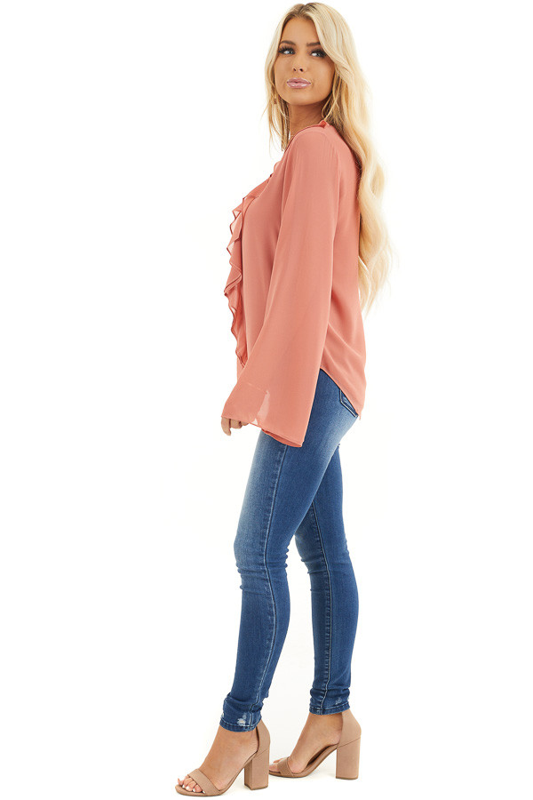Terracotta Long Flare Sleeve Blouse with Ruffle Details side full body