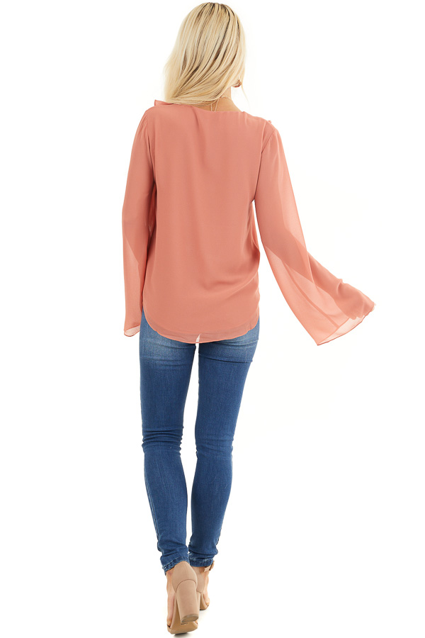 Terracotta Long Flare Sleeve Blouse with Ruffle Details back full body