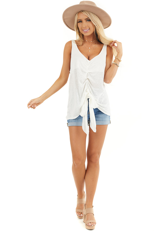 Ivory Deep V Tank Top with Front Looped Tie Detail front full body