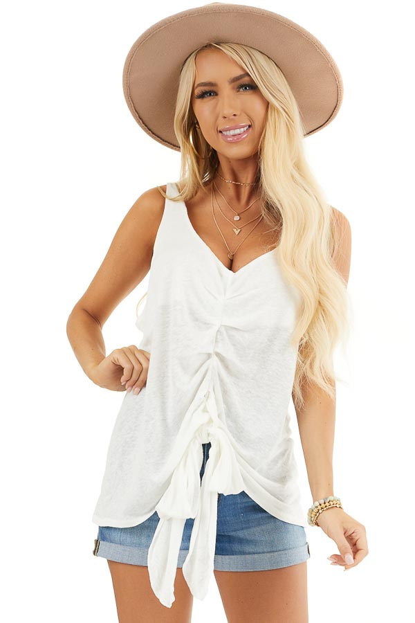 Ivory Deep V Tank Top with Front Looped Tie Detail front close up