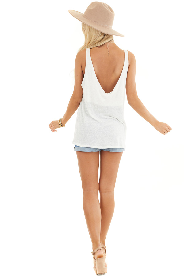 Ivory Deep V Tank Top with Front Looped Tie Detail back full body