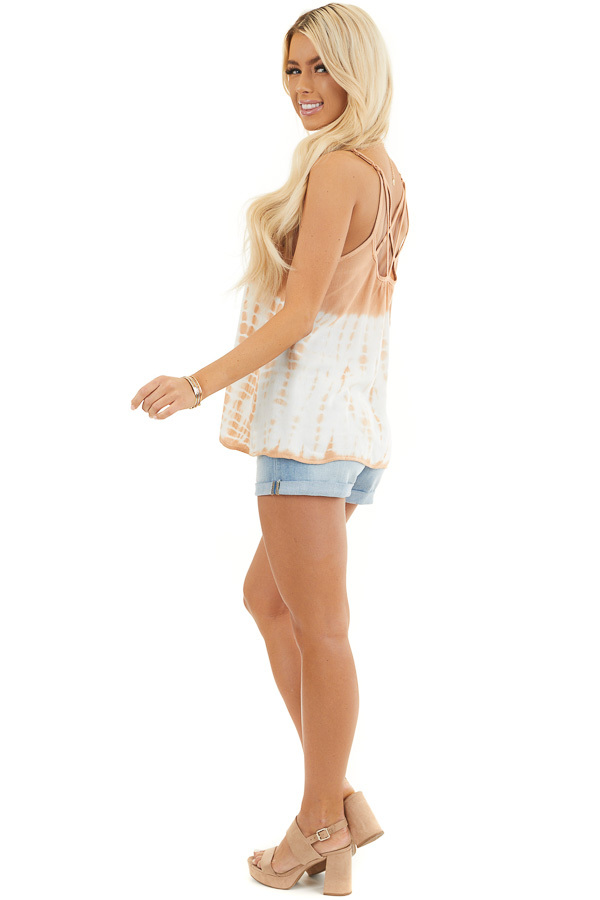 Terracotta Tie Dye Tank Top with Back Cage Detail side full body