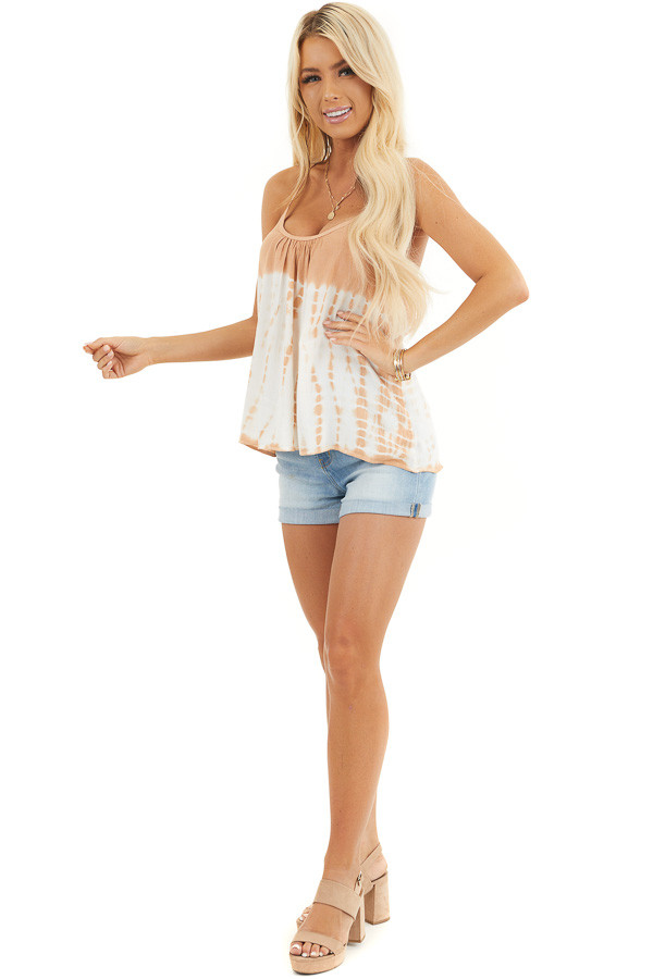 Terracotta Tie Dye Tank Top with Back Cage Detail front full body