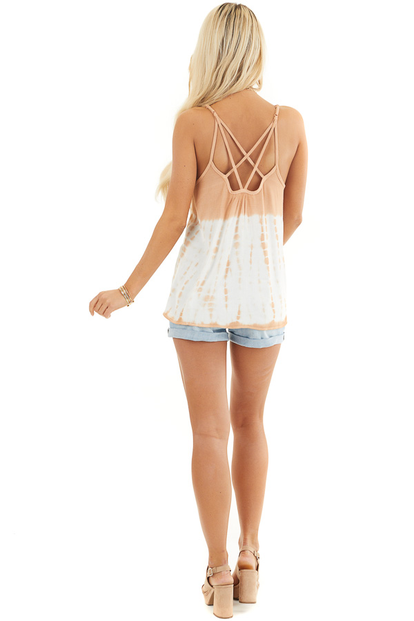 Terracotta Tie Dye Tank Top with Back Cage Detail back full body