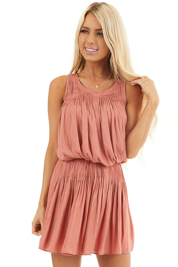 Terracotta Silky Sleeveless Pleated Mini Dress front close up