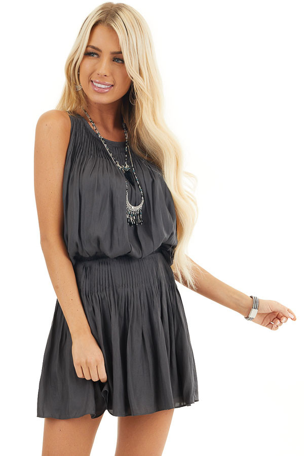 Deep Charcoal Silky Sleeveless Pleated Mini Dress front close up