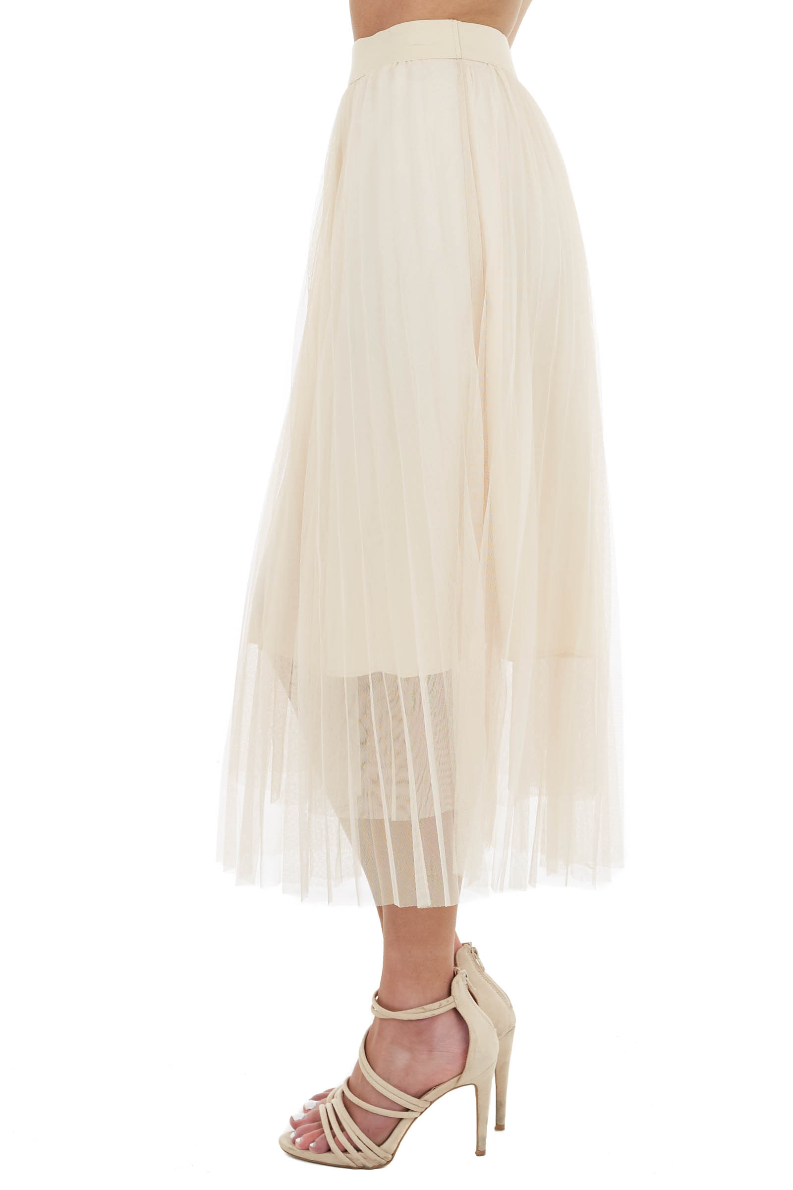 Champagne Tulle Pleated Skirt with Elastic Waist