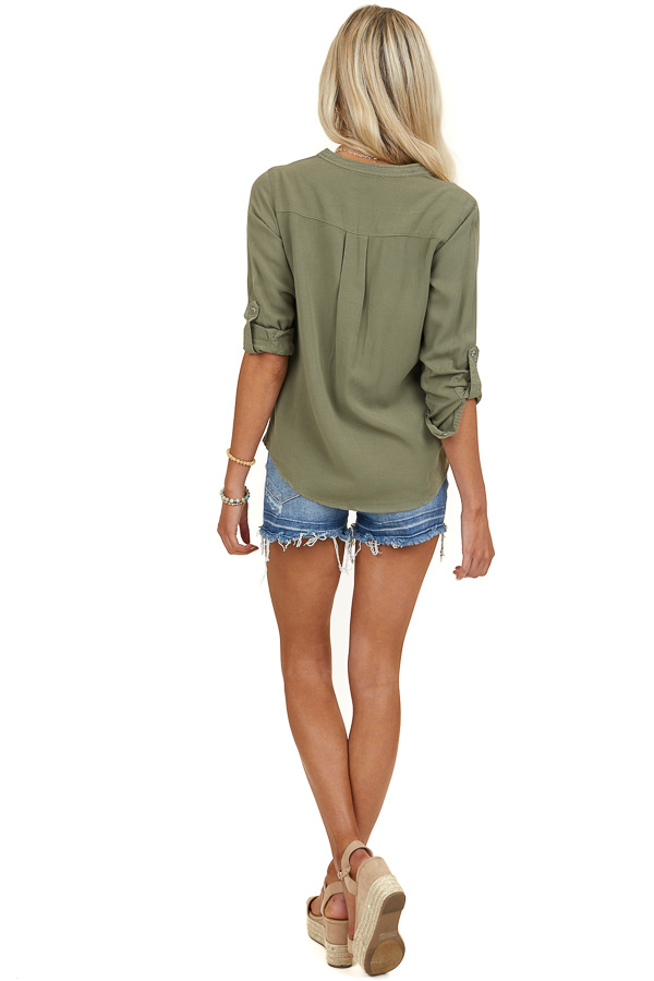 Olive Button Up Blouse with Roll Up Sleeves and Pockets