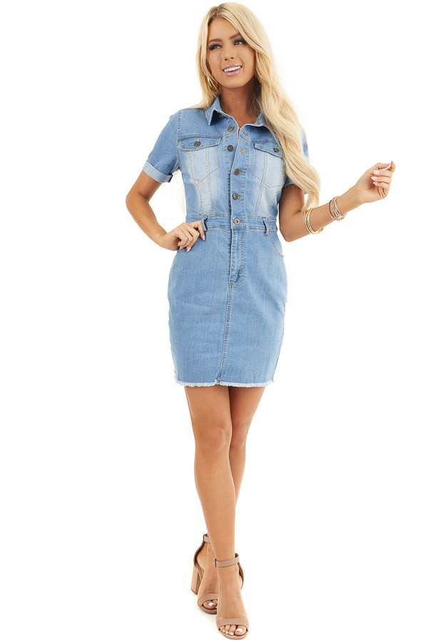 Light Wash Denim Button Up Mini Dress With Frayed Hemline front full body
