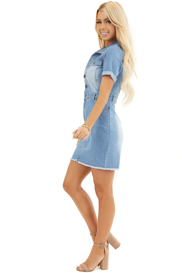 Light Wash Denim Button Up Mini Dress With Frayed Hemline side full body