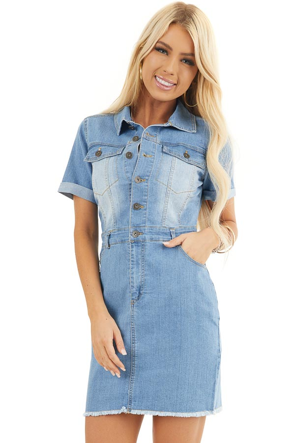Light Wash Denim Button Up Mini Dress With Frayed Hemline front close up