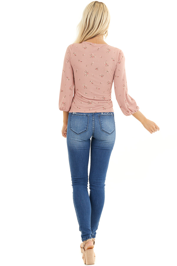 Dusty Blush Floral 3/4 Sleeve Knit Top with Peekaboo Detail back full body