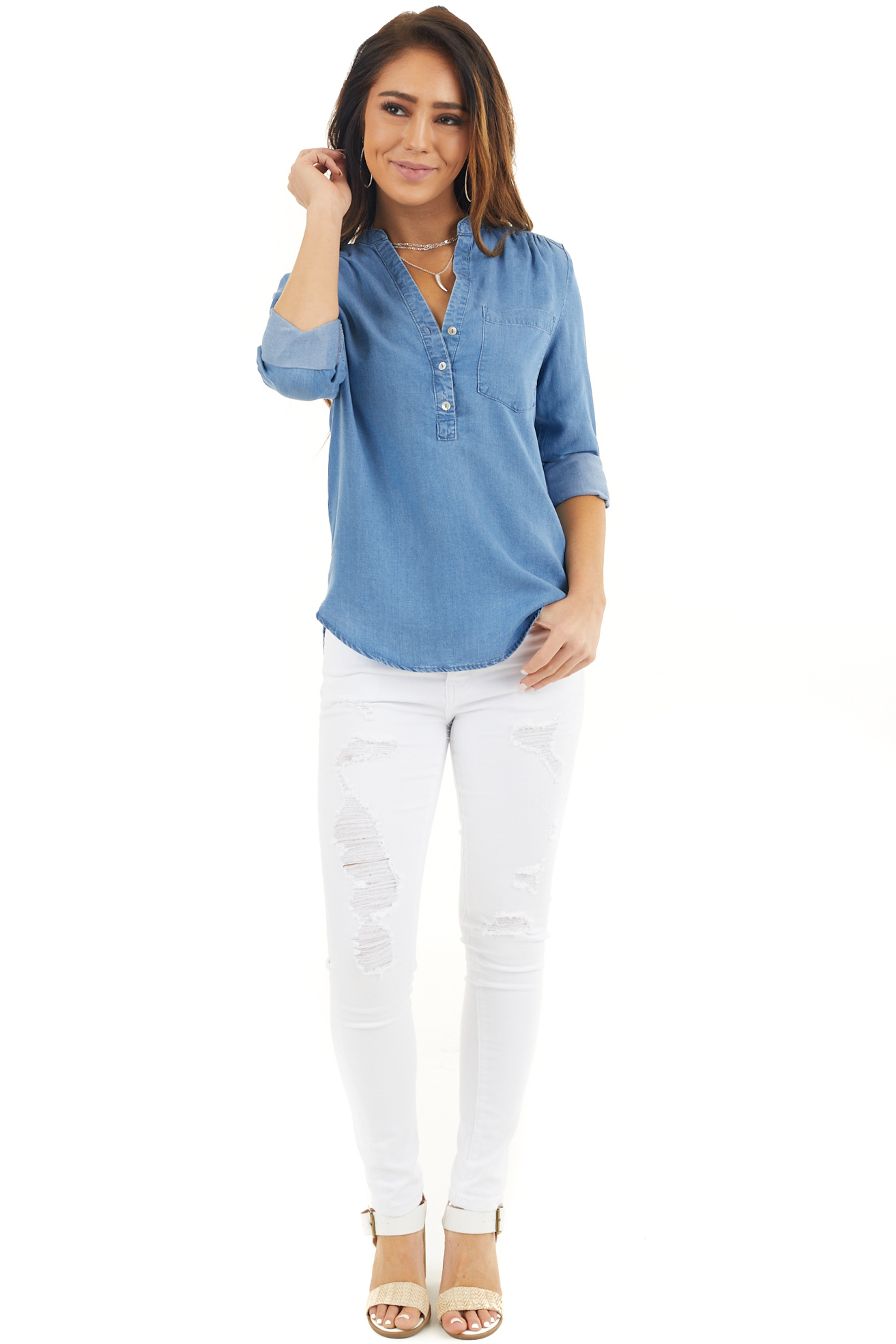 Blue Chambray Blouse with Chest Pocket and Gathered Details