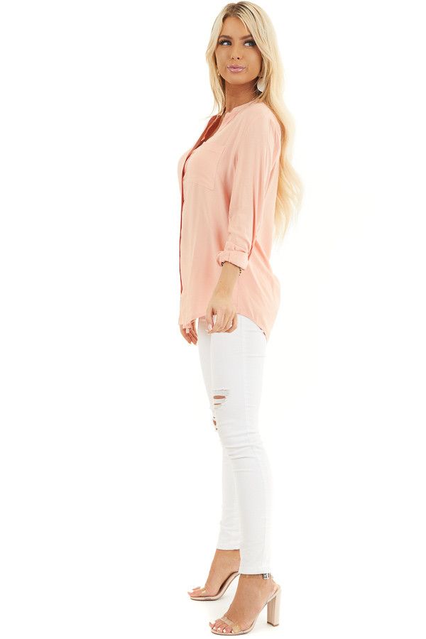 Peach Button Down Long Sleeve Woven Blouse with Chest Pocket side full body
