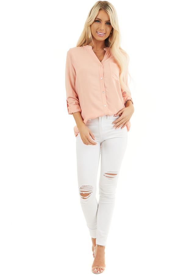 Peach Button Down Long Sleeve Woven Blouse with Chest Pocket front full body