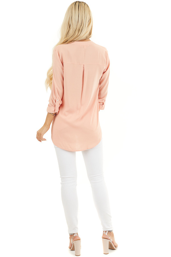 Peach Button Down Long Sleeve Woven Blouse with Chest Pocket back full body