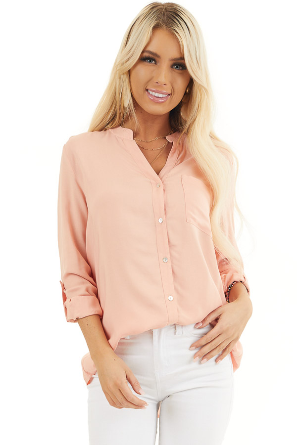 Peach Button Down Long Sleeve Woven Blouse with Chest Pocket front close up