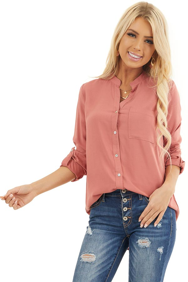 Terracotta Button Down Long Sleeve Blouse with Chest Pocket front close up