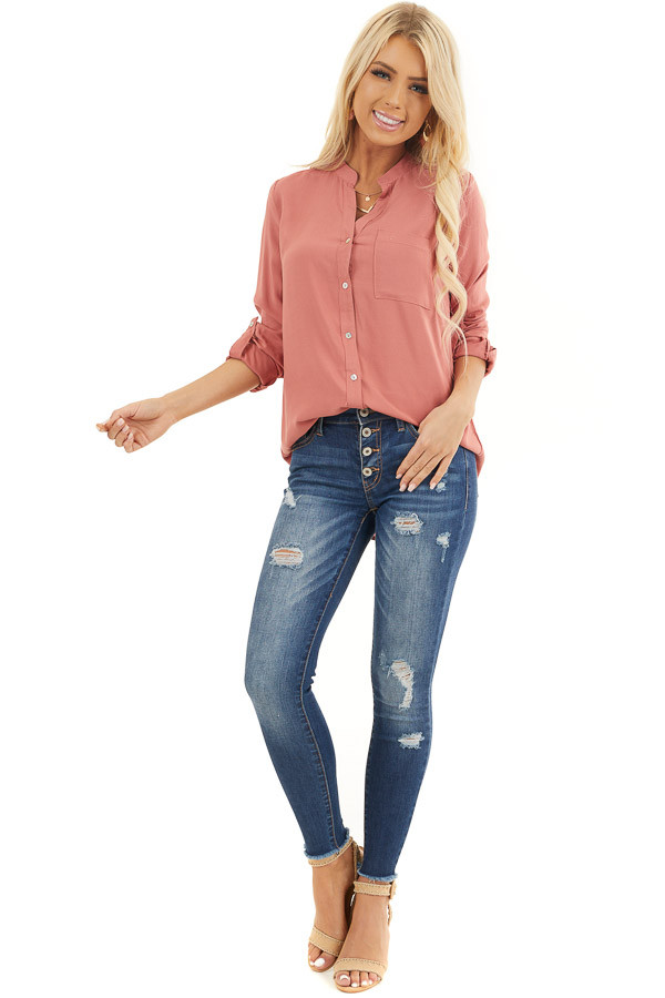 Terracotta Button Down Long Sleeve Blouse with Chest Pocket front full body