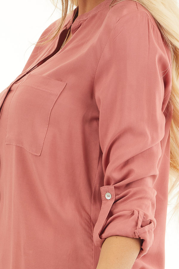 Terracotta Button Down Long Sleeve Blouse with Chest Pocket detail