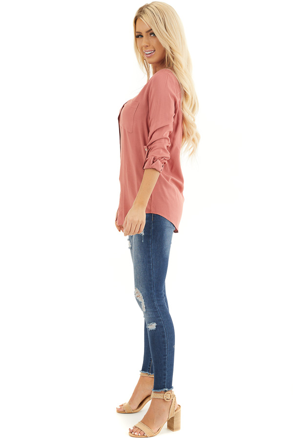 Terracotta Button Down Long Sleeve Blouse with Chest Pocket side full body