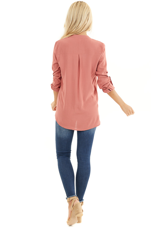 Terracotta Button Down Long Sleeve Blouse with Chest Pocket back full body