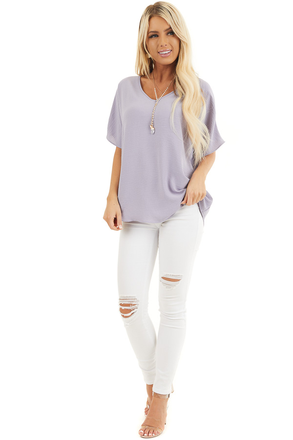 Lavender Loose Blouse with V Neckline and Short Sleeves front full body