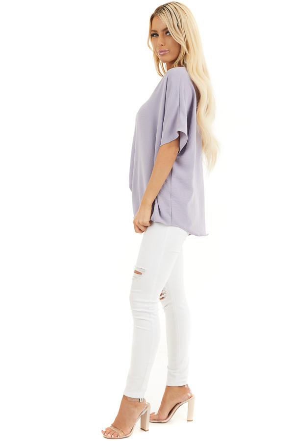 Lavender Loose Blouse with V Neckline and Short Sleeves side full body