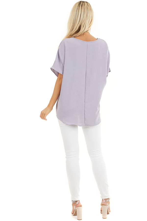 Lavender Loose Blouse with V Neckline and Short Sleeves back full body