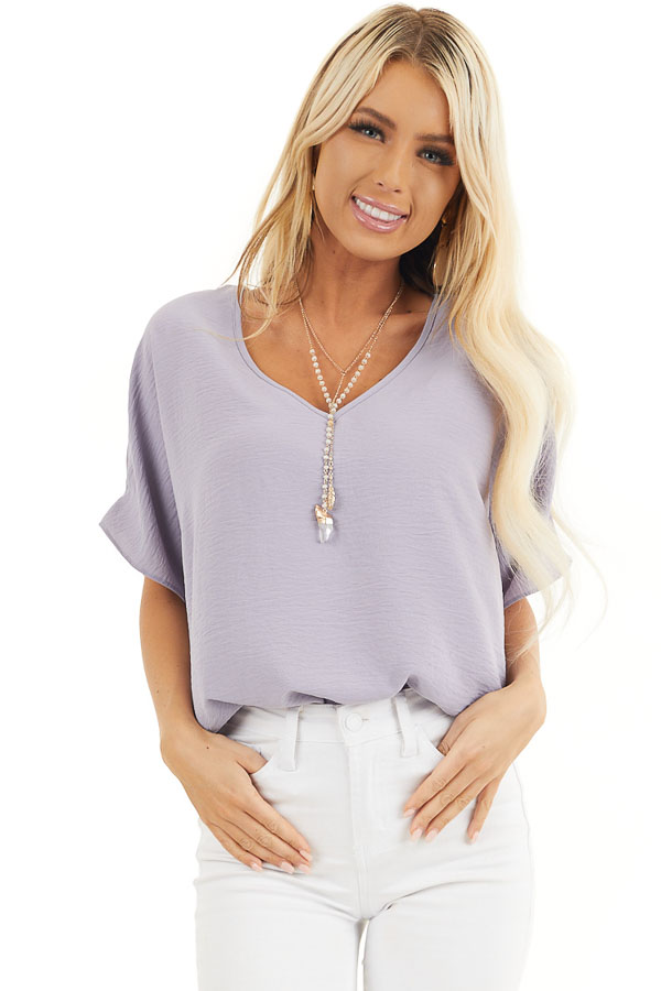Lavender Loose Blouse with V Neckline and Short Sleeves front close up