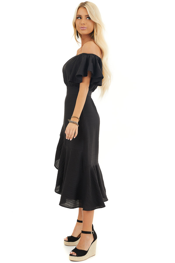 Black Off Shoulder Faux Wrap Dress with Ruffle Details side full body