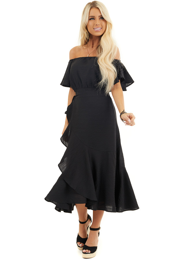 Black Off Shoulder Faux Wrap Dress with Ruffle Details front full body