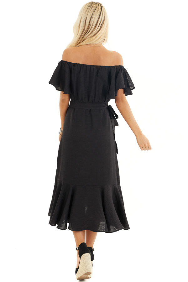 Black Off Shoulder Faux Wrap Dress with Ruffle Details back full body