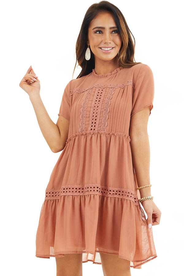 Terracotta High Neck Tiered Dress with Pleat and Lace Detail front close up