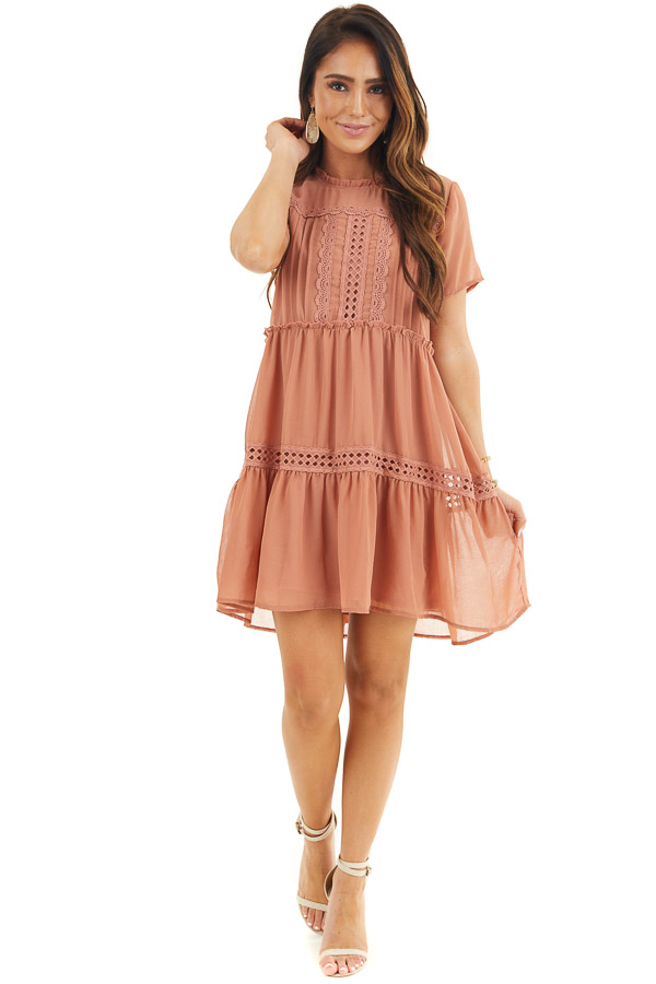 Terracotta High Neck Tiered Dress with Pleat and Lace Detail front full body