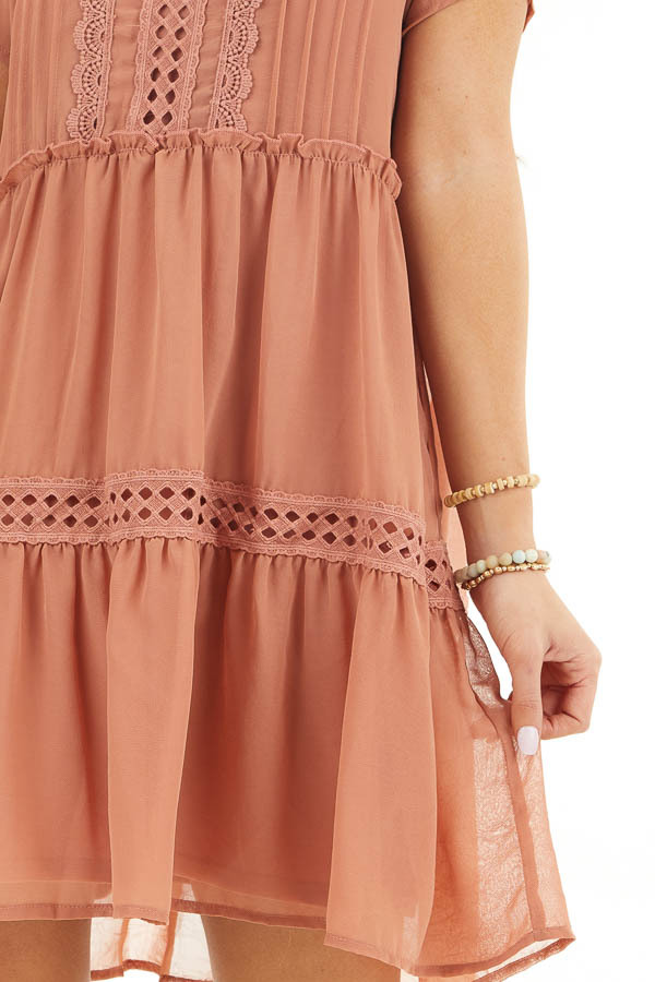 Terracotta High Neck Tiered Dress with Pleat and Lace Detail detail
