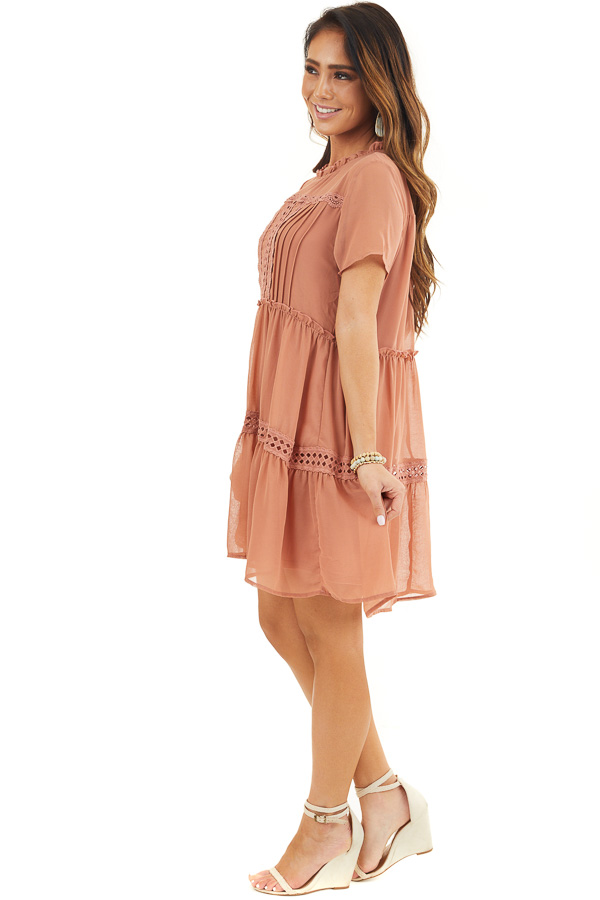 Terracotta High Neck Tiered Dress with Pleat and Lace Detail side full body