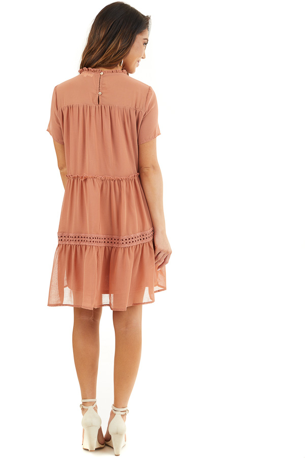 Terracotta High Neck Tiered Dress with Pleat and Lace Detail back full body