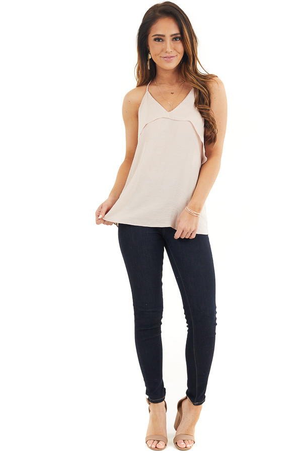Pale Pink Sleeveless Woven Top with Overlay Detail front full body