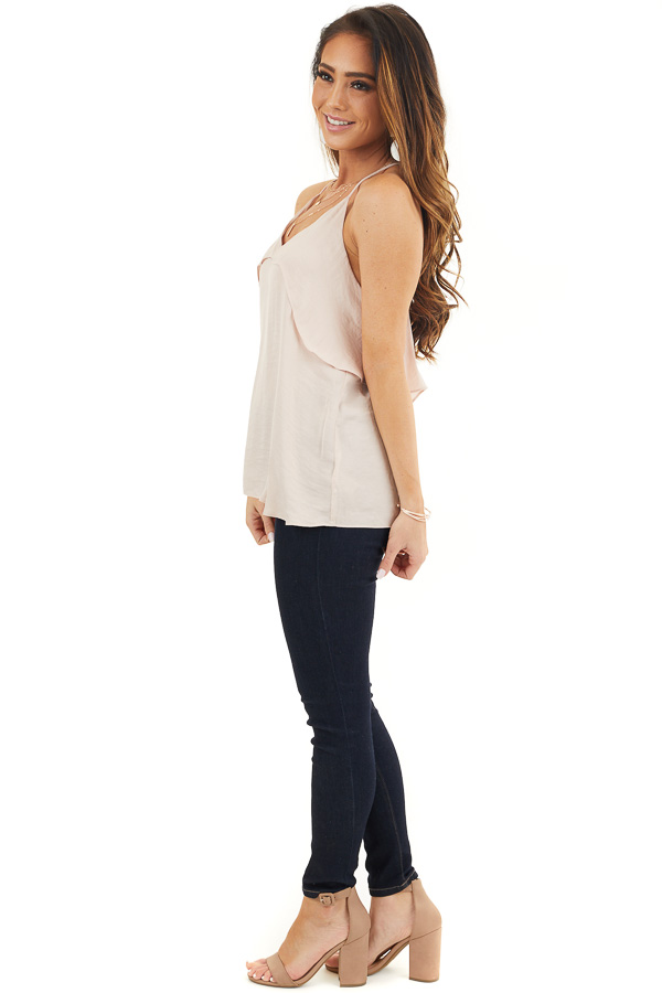 Pale Pink Sleeveless Woven Top with Overlay Detail side full body