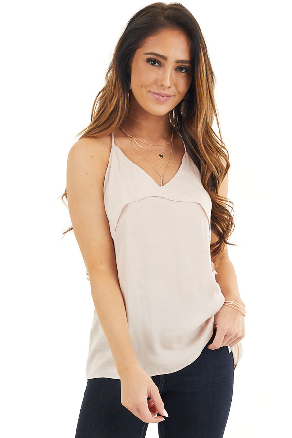 Pale Pink Sleeveless Woven Top with Overlay Detail front close up