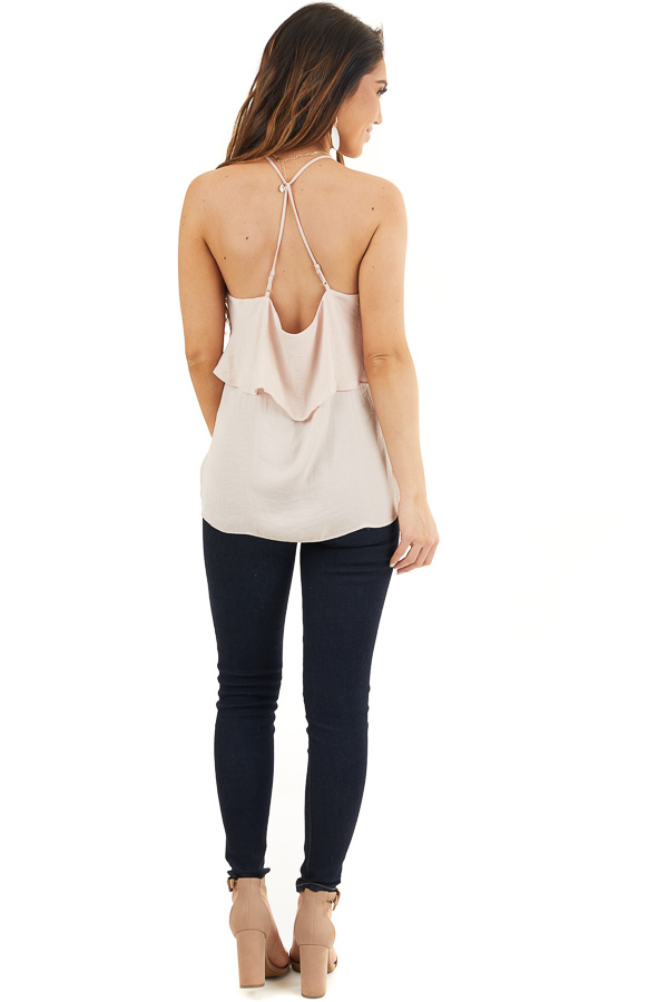 Pale Pink Sleeveless Woven Top with Overlay Detail back full body