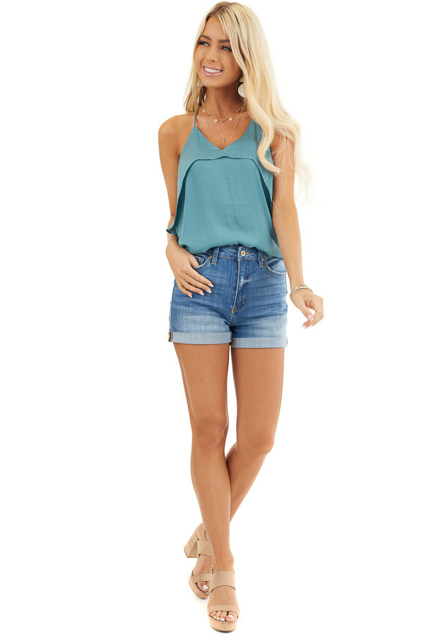 Deep Teal Sleeveless Woven Top with Overlay Detail front full body