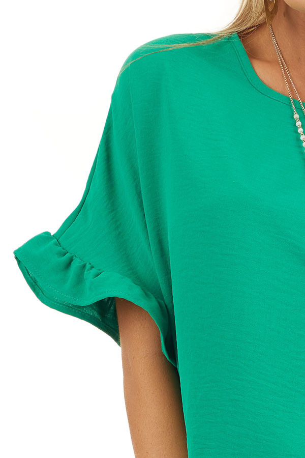 Kelly Green Blouse with Short Ruffled Dolman Sleeves detail
