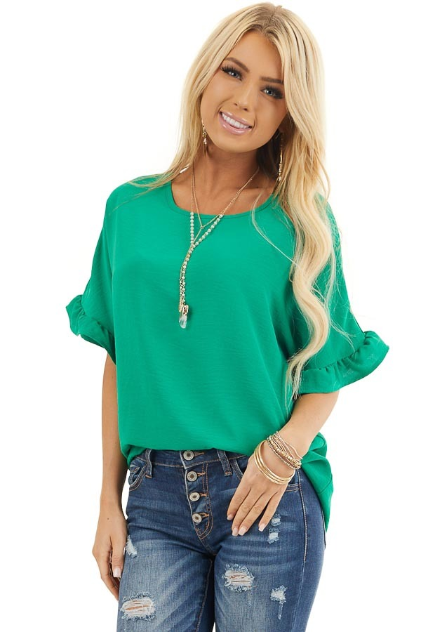 Kelly Green Blouse with Short Ruffled Dolman Sleeves front close up
