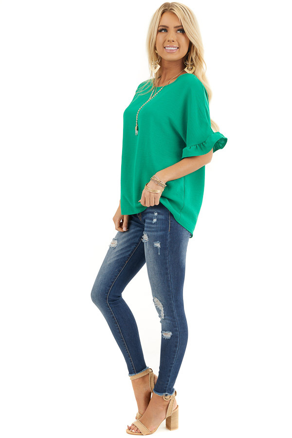 Kelly Green Blouse with Short Ruffled Dolman Sleeves side full body
