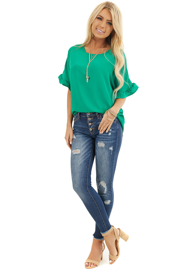 Kelly Green Blouse with Short Ruffled Dolman Sleeves front full body