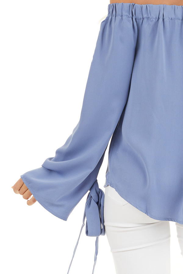 Dusty Blue Off Shoulder Woven Top with Sleeve Ties detail