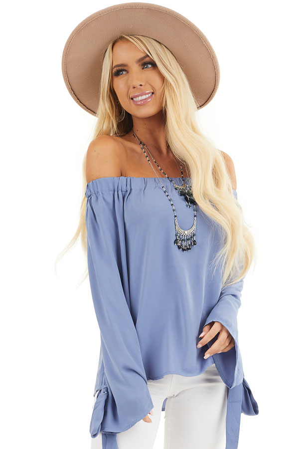 Dusty Blue Off Shoulder Woven Top with Sleeve Ties front close up